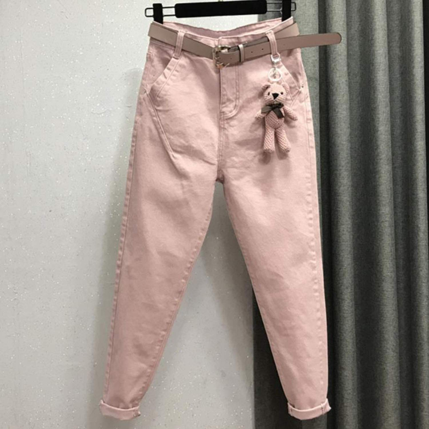 Dreamedge 26-32!New Spring feet Casual Harem Loose high Waist Pink Jeans,Pink,31