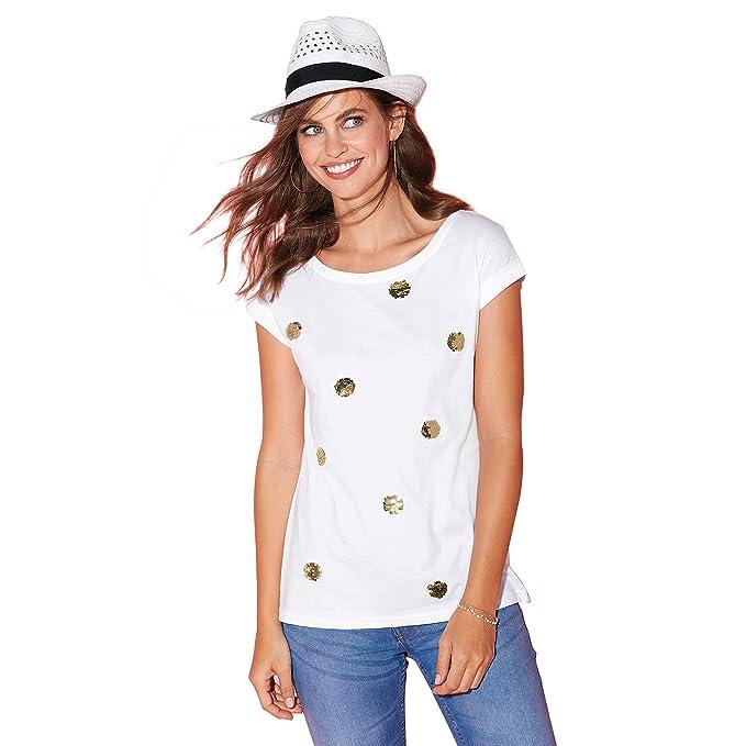 e8187e6ee0 VENCA Camiseta Lentejuelas bidireccionales en el Delantero Mujer by  VencaSty - 022765: Amazon.es: Ropa y accesorios