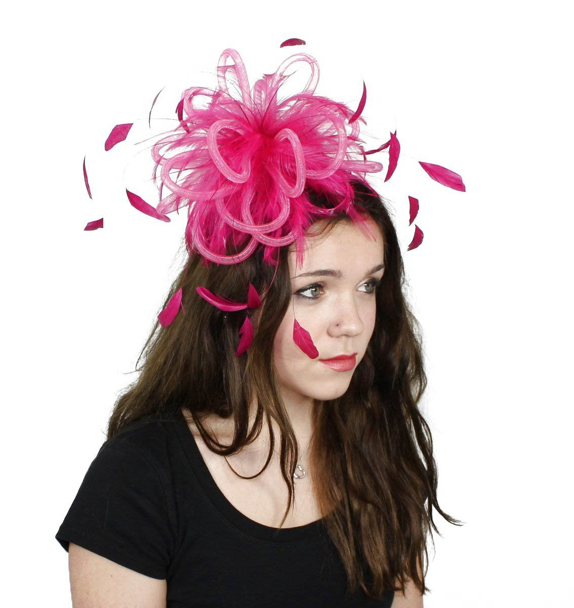 Fluffy Crin Ascot Fascinator Hat With Comb - Black by Hats By Cressida