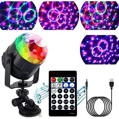 ZStarlite Bola de Luces Discoteca Giratoria para Fiestas con Cable USB, Control Remoto, Lámpara Activada por Sonido con 15 Colores de Iluminación, LED Giratoria Luz para Fiesta, Cumpleaños, Bar y Boda