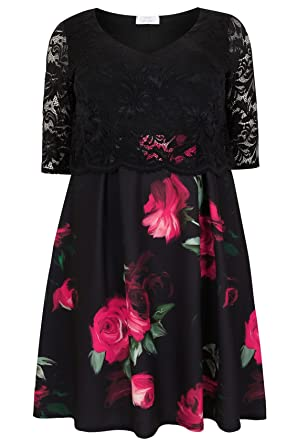 8f479f6d78d Yours Women s Plus Size Rose Print Lace Overlay Midi Dress Plus Size 16 to  32 Size