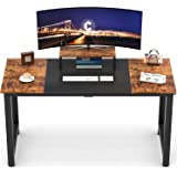 """CubiCubi Computer Desk 63"""" with Splice Board Study Writing Table for Home Office, Modern Simple Style PC Desk, Black…"""