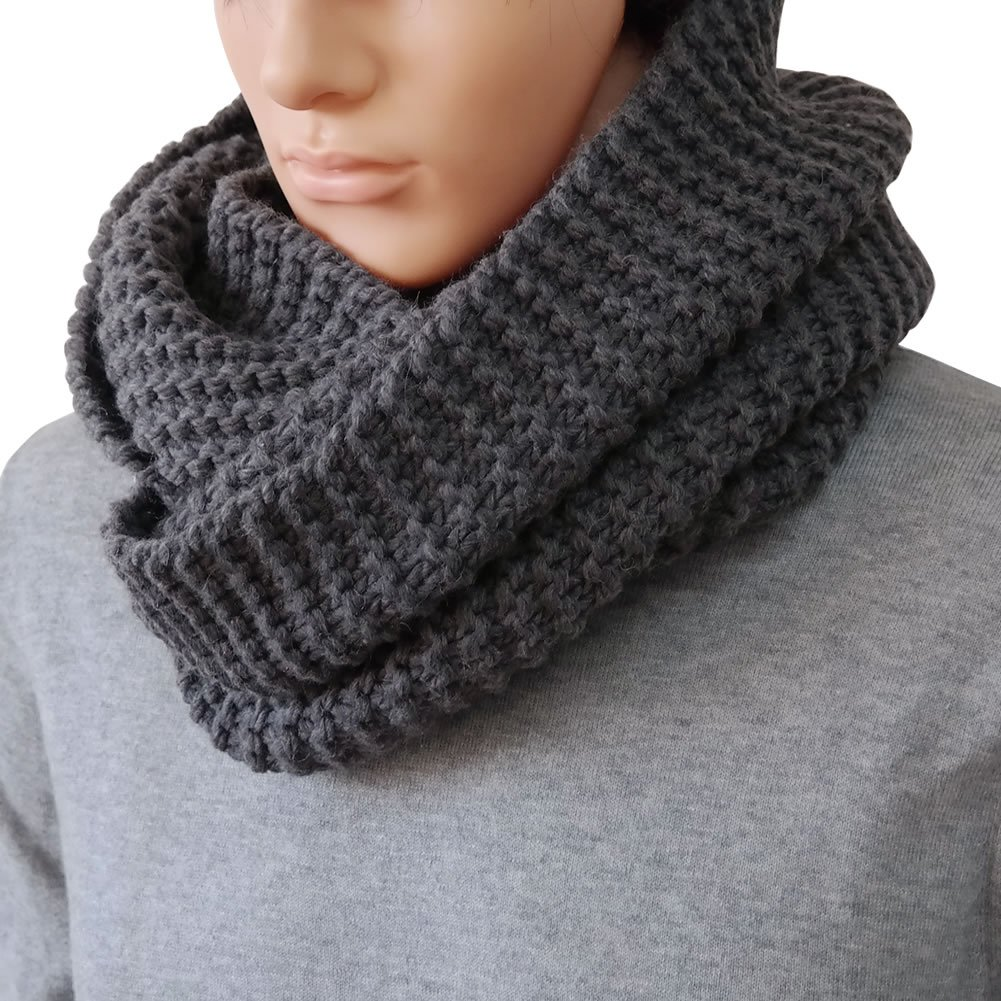 DELUXSEY Mens Long Chunky Infinity Scarf -Circle Loop Scarf Winter Scarf for Men 5012A