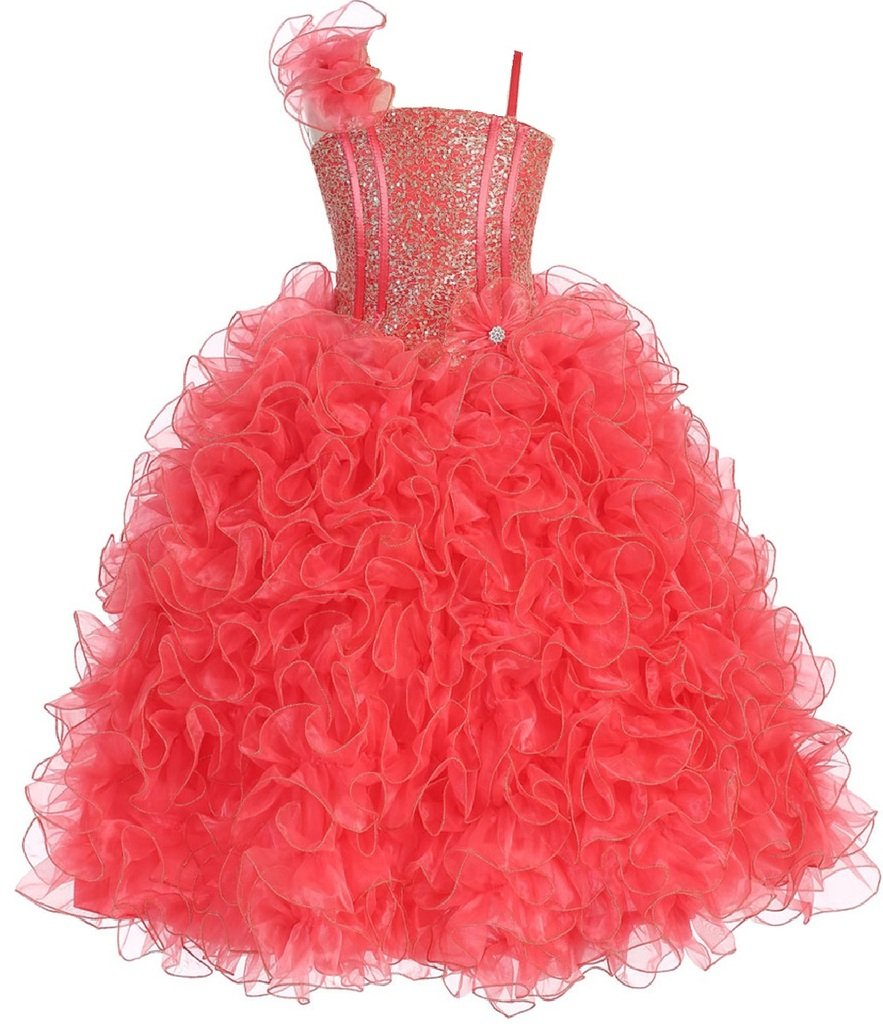Big Girls' Princess Pageant Girl Ball Gown Flowers Girls Dresses Coral 8