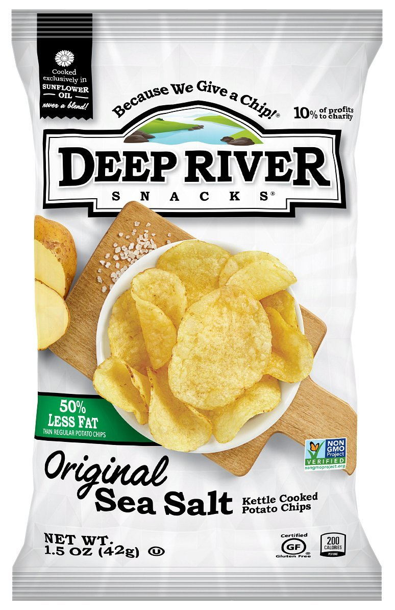 Deep River Snacks Original Sea Salt 50% Reduced Fat Kettle Cooked Potato Chips, 1.5-Ounce (Pack of 24)