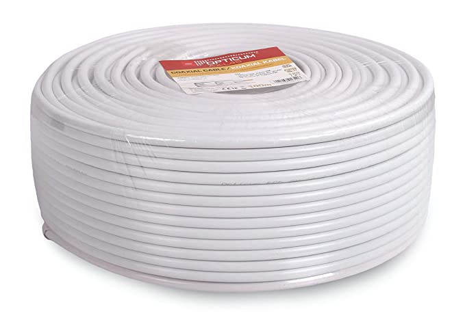 Opticum Cable coaxial (120 dB Anillo 100m, 4 blindado, RG6, Acero/Cobre, 7,2 mm) de Color Blanco