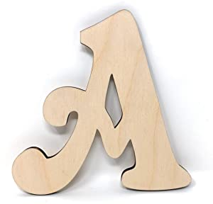 "Gocutouts 12"" Wooden Letter A Unfinished 1/4"" Wooden Letters Paint Ready Unfinished Wall Decor Craft Cutout (12"" - 1/4"" Thick, A)"
