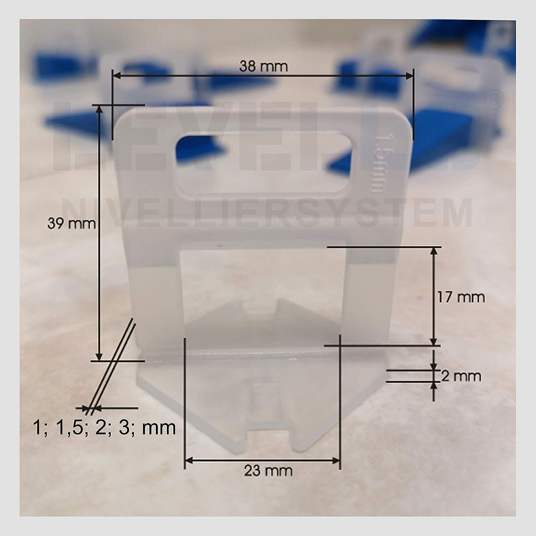 StarterSet XS Nivelliersystem Fliesen Starterset XS 1,5mm Fugenbreite Levello Verlegehilfe f/ür Fliesen 100 Laschen 50 Keile und Zange Zuglaschen Fliesenverlegung Satz f/ür Fliesenh/öhe 3-12 mm