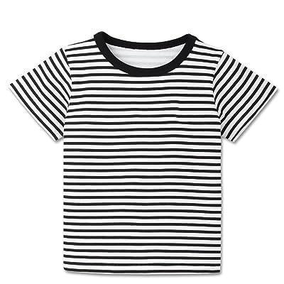 665a25588 MiyaSudy Baby Boy Summer Round Neck Stripes T-Shirt Children Short Sleeve  Cotton T-