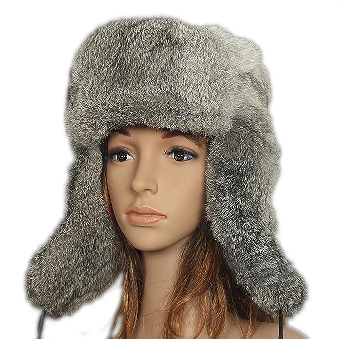 3f4cbe21d4c44 FURTALK Real Fur Trapper Winter Hat - Natural Rabbit Full Fur Russian  Hunting Aviator Hats for