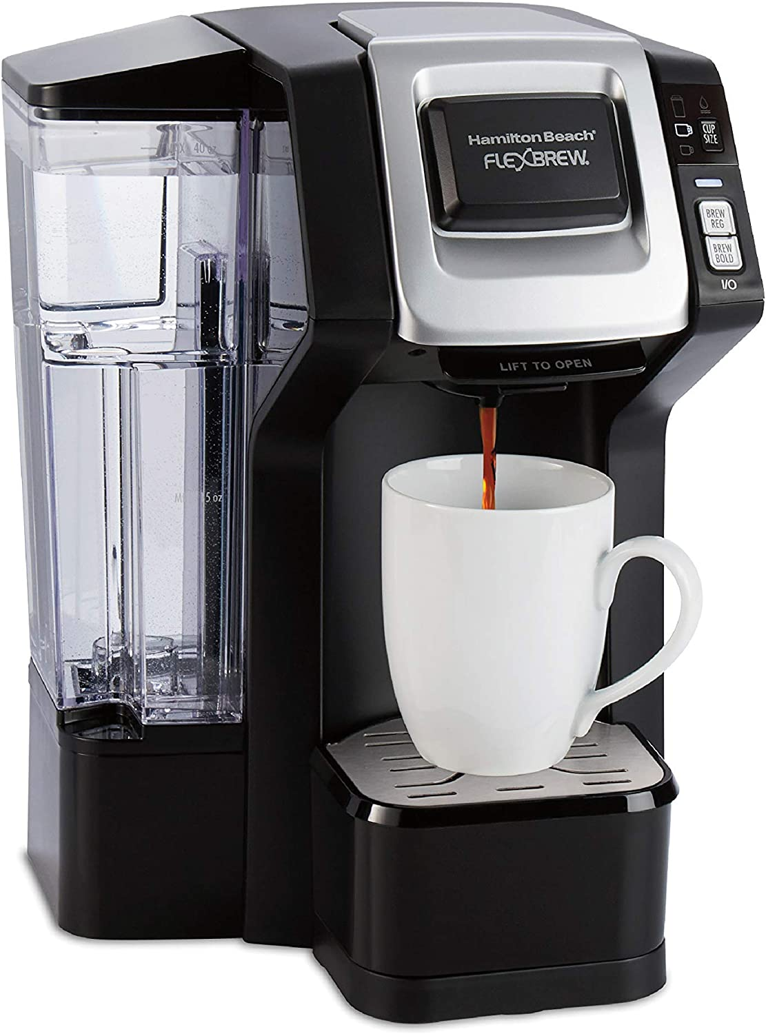 Hamilton Beach FlexBrew Single-Serve Maker with 40 oz. Reservoir Compatible with Pods or Ground Coffee, 3 Brewing Options, Black and Silver (49948), (Renewed)