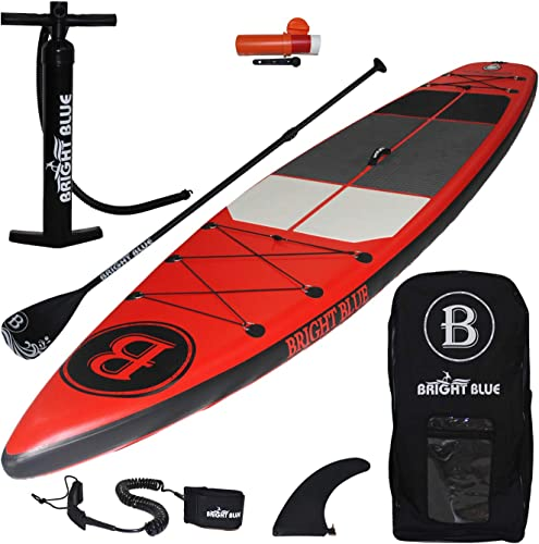 Bright Blue Enhanced Inflatable Stand Up Paddle Board 11 6 6 Thick with Pump, Paddle,Backpack, Fin, Leash