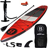 """Bright Blue Fusion All Round 11'6"""" Inflatable Stand Up Paddle Board (6"""" Thick) with Pump, Paddle,Backpack, Fin,Leash"""