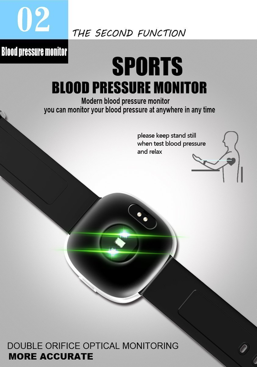 Waterproof Bluetooth Smart Watch with Blood Pressure /Heart Rate / Sleep Monitor Sports Fitness tracker Watch smart band Pedometer for IOS Android Smartphone by Tibang Fitness (Image #4)