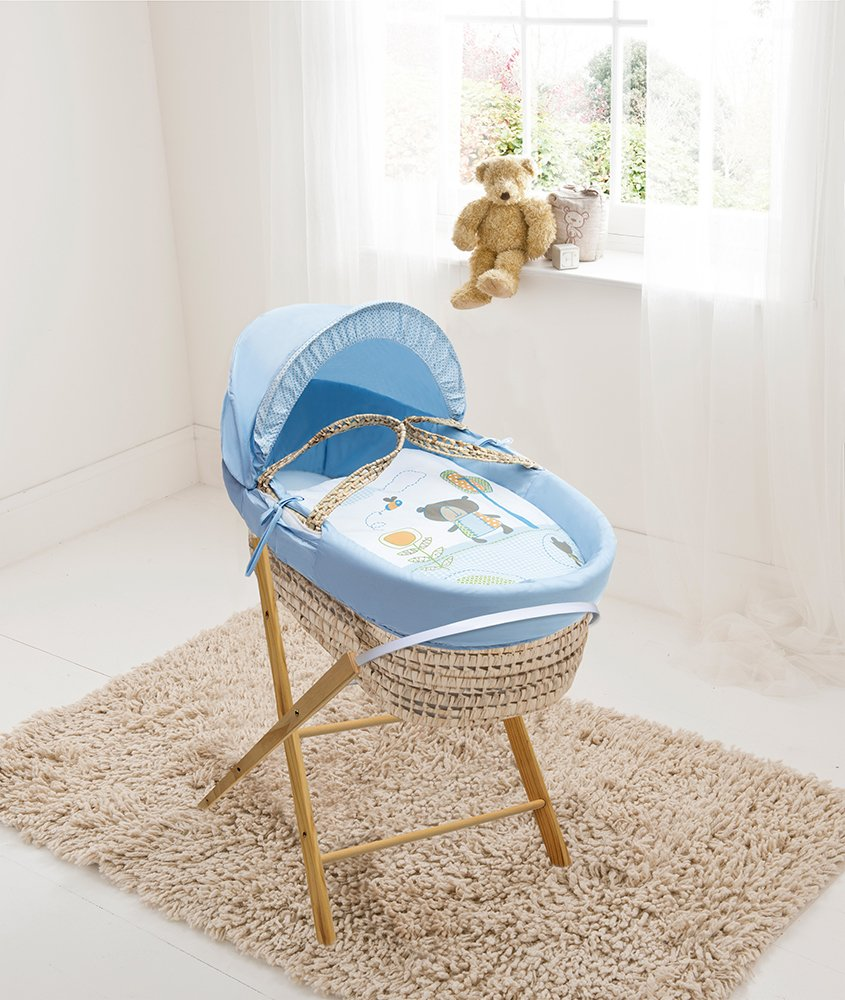 Beary Nice Blue Palm Moses Basket & Folding Stand Elegant Baby