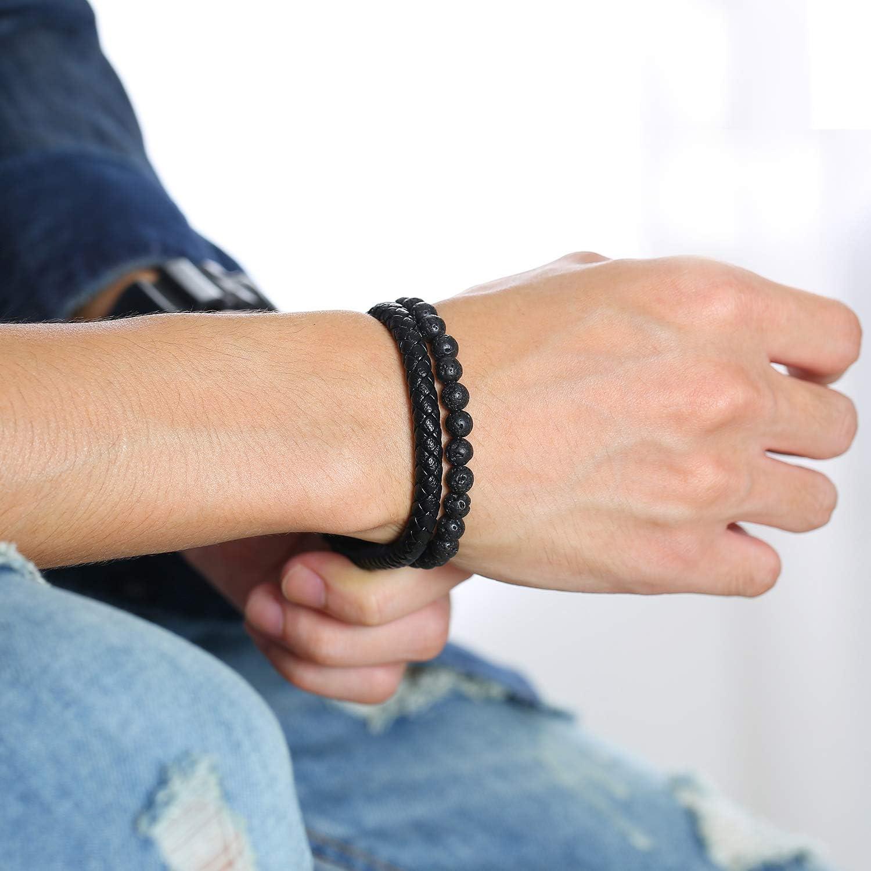 VNOX Two-Strand Braided Leather Cuff Wristband Bead Rope Bracelet Engraved Egyptian Eye of Horus Eye of Ra Ankh Cross Bracelet