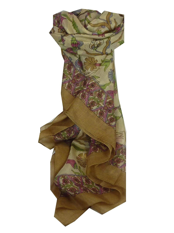 Classic Range Square Scarf 100% Mulberry Silk Hestia Design Caramel from Pashmina & Silk