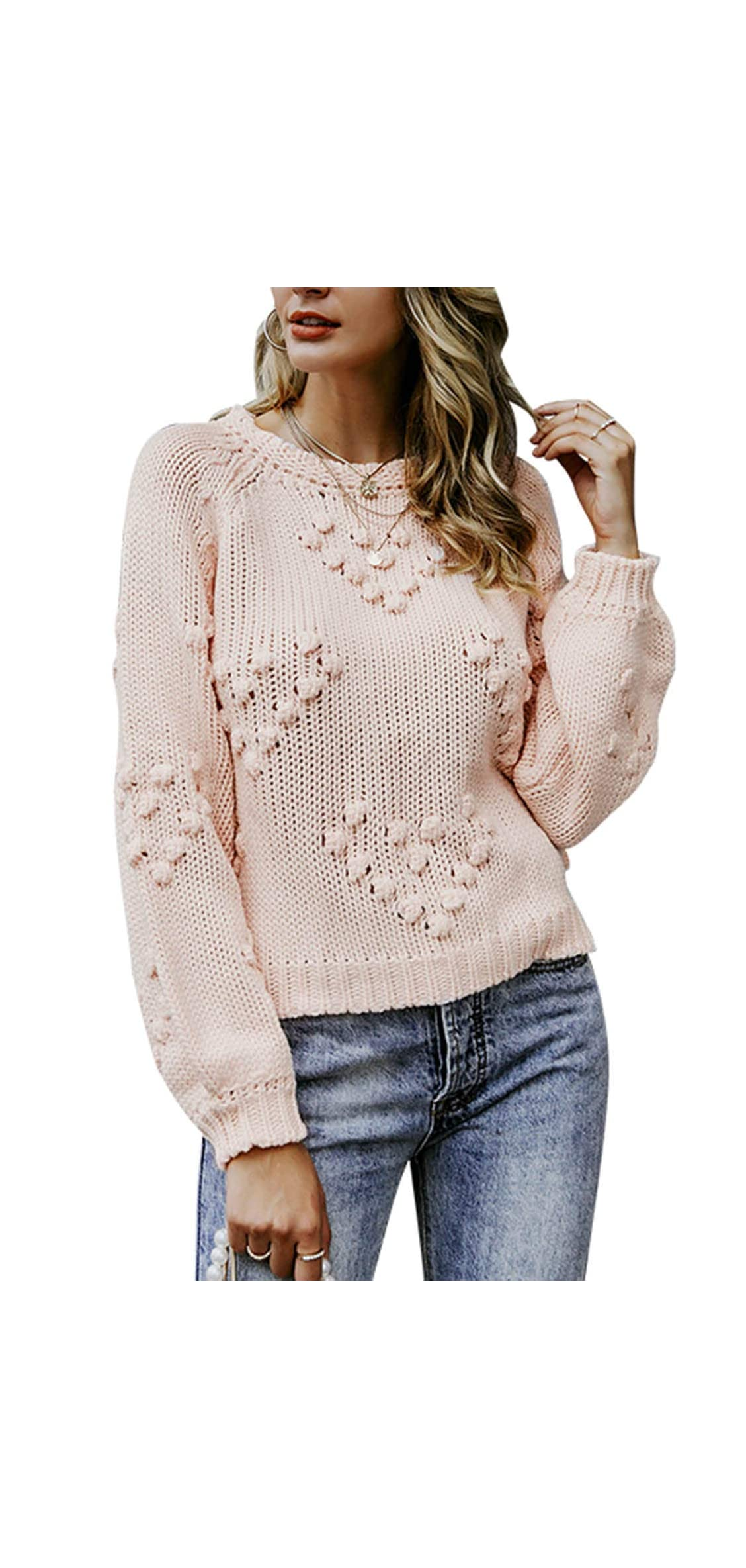 Simplee Women's Loose Drop Shoulder Sleeve Knitted Casual Winter