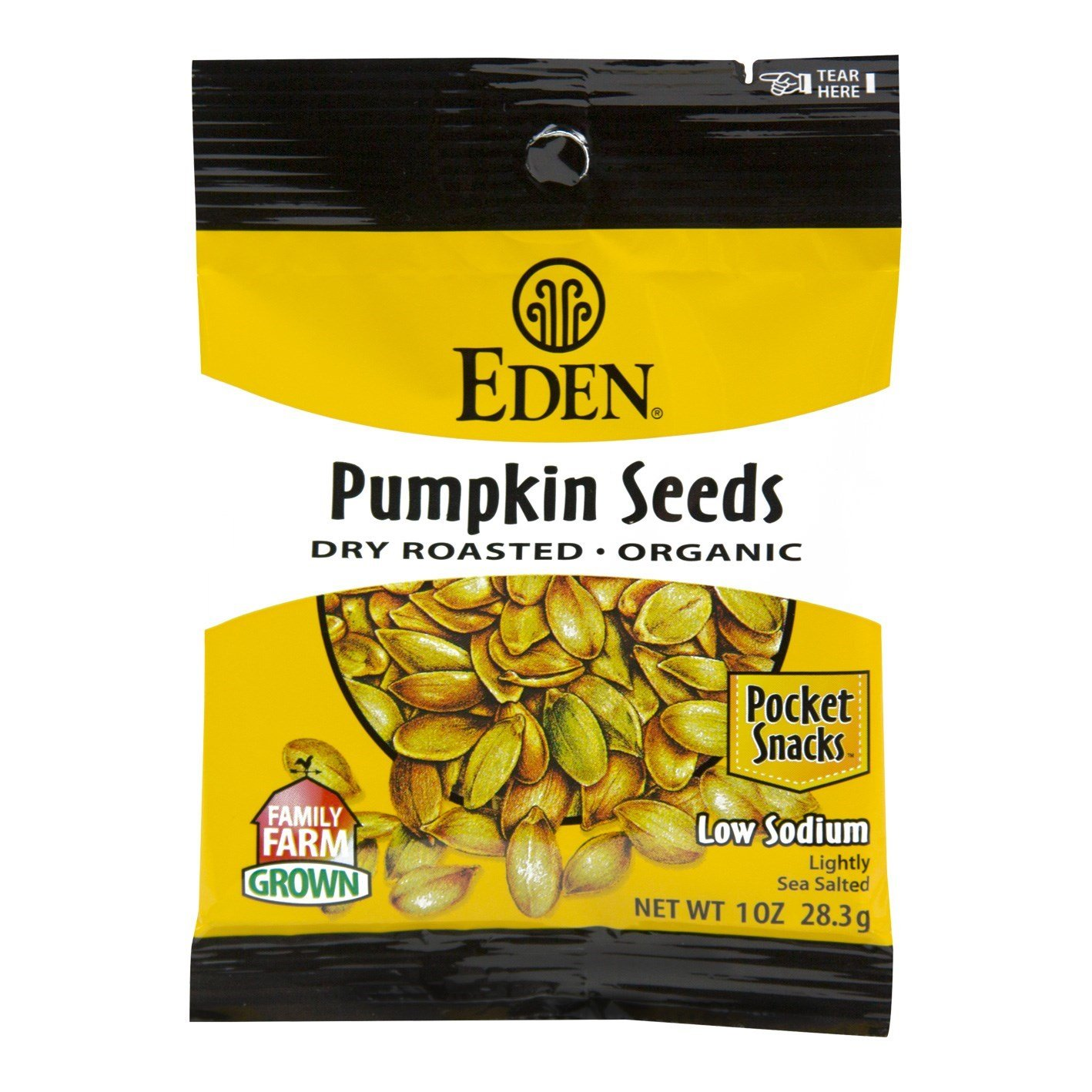 Eden Organic Pumpkin Seeds, Dry Roasted and Salted, Pocket Snacks, 1 Ounce (Pack of 12) by Eden