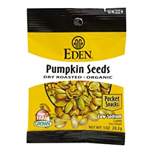 Eden Organic Pumpkin Seeds, Dry Roasted and Salted, Pocket Snacks, 1 Ounce (Pack of 12)