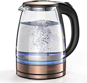 HadinEEon Electric Kettle 1.7L Glass Electric Tea Kettle (BPA Free) Cordless Teapot, Portable Electric Hot Water Kettle with Auto Shutoff Protection, Stainless Steel Lid & Bottom- Gold