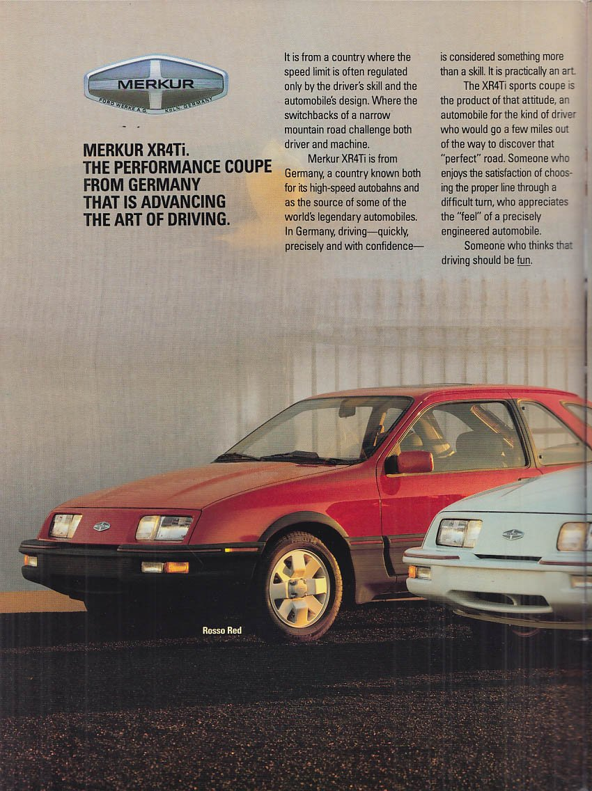 1987 Merkur XR4Ti sales brochure Lincoln-Mercury import at Amazons Entertainment Collectibles Store