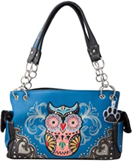 856b80905ba HW Collection Western Colorful Owl Art Hearts Concealed Carry Handbag Purse