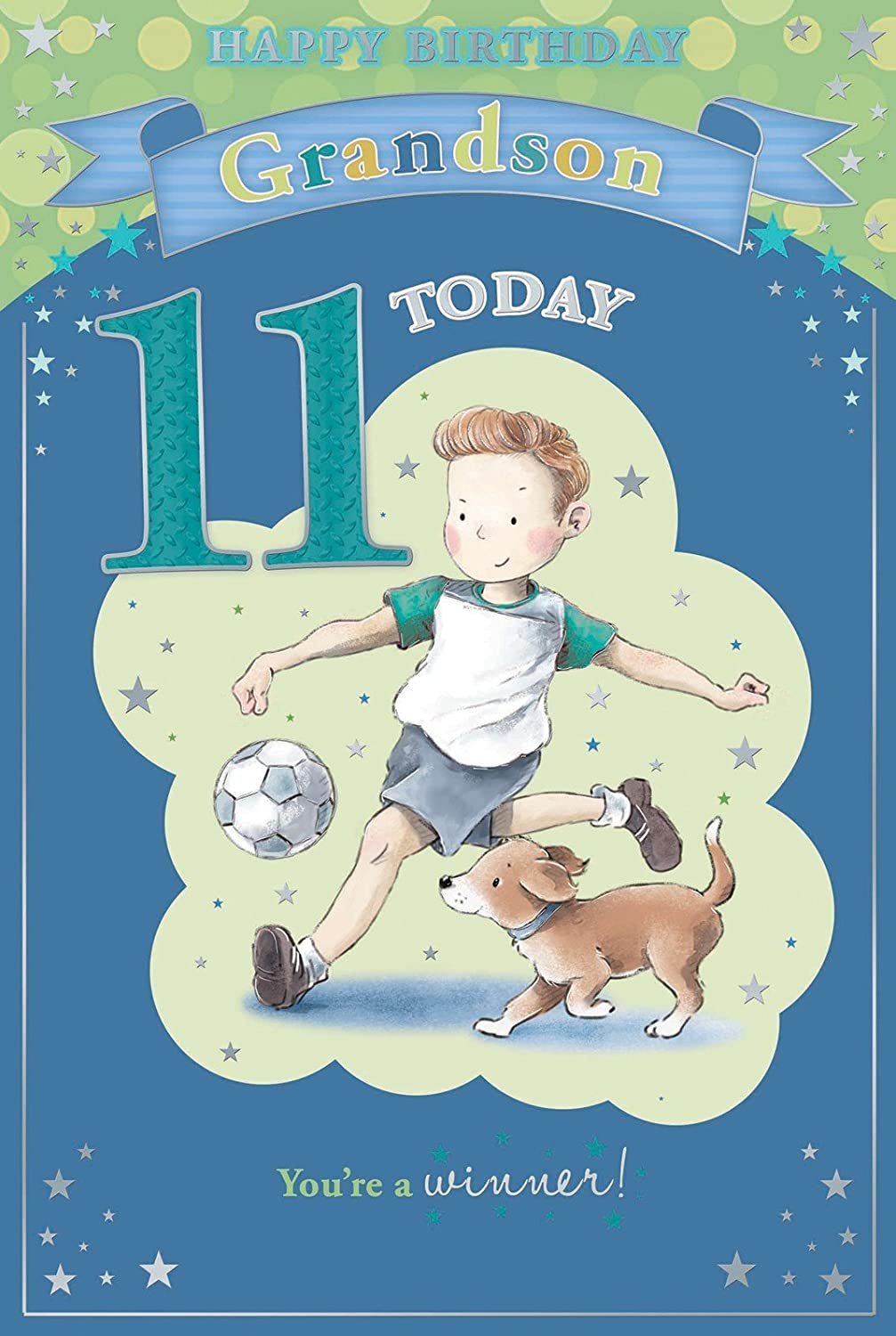 Grandsons 11th Birthday Card 11 Today Boy Dog With Football 9 – 11th Birthday Cards