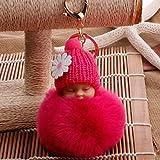 FEDULK Cute Fur Fluffy PomPom Sleeping Baby Doll