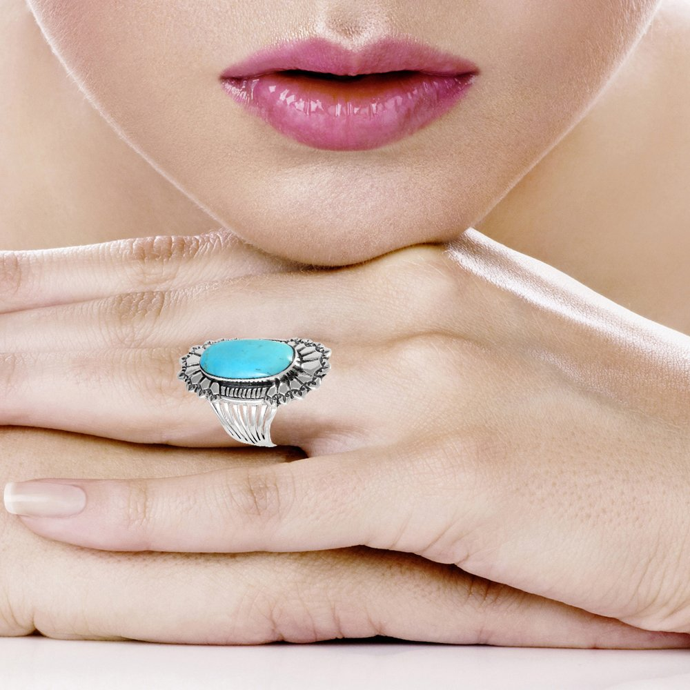 Sterling Silver 925 Genuine Turquoise Ring (10) by Turquoise Network (Image #3)