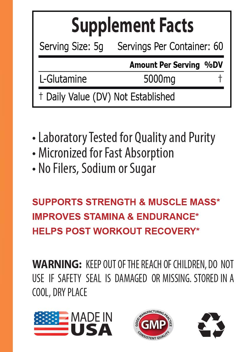 Post Workout Vitamins - GLUTAMINE 5000MG Powder - glutamine Amino Acid Supplement - 3 Cans 900 Grams by NATURE SUPPLEMENTS (Image #2)