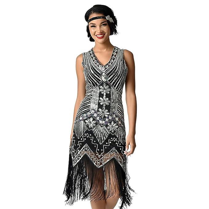 20 Disfraz De Gatsby Lentejuelas Estilo Con Años Vestido Flecos 1dwqaAa4x