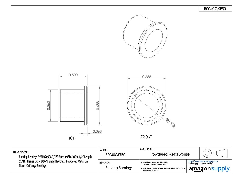 7//16,L 1//2,PK3 BUNTING BEARINGS DPEF070908 Sleeve Bearing,I.D
