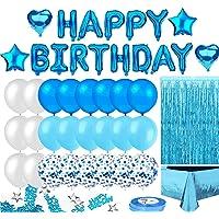 Beauenty Blue Birthday Party Decoration, Happy Birthday Banner, Sky-Blue Fringe Curtain, Heart Star Foil Confetti…