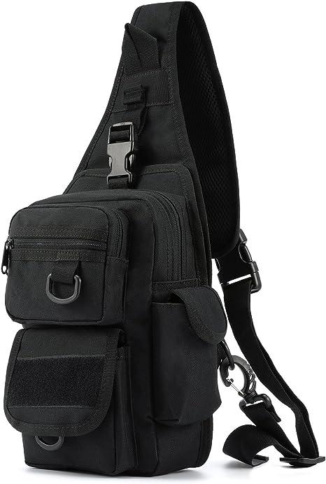 Tactical Sling Bag Pack con Pistola Holster, Militar Bolsa de Hombro Satchel, Gama Bolsa Mochila Mochila, Negro: Amazon.es: Deportes y aire libre