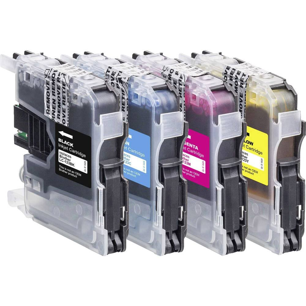 Gelb BTB41 1525,0050-126 Basetech Tinte ersetzt Brother LC-123 Kompatibel Kombi-Pack Schwarz Magenta Cyan