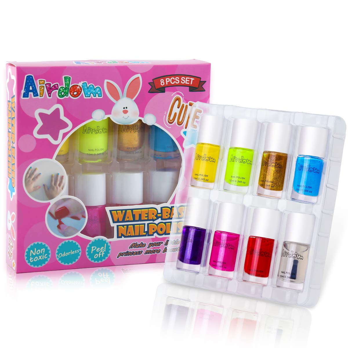 Airdom Non Toxic Kids Nail Polish Water Based Natural Odorless Safe Peel Off Nail Polish Set Quick Dry Nail Polish Gifts Toys Kit