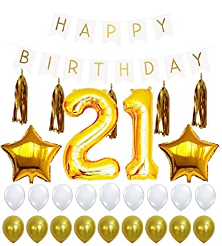 21st Birthday Decorations Package 21 Balloon Happy White Sign Banner Gold And