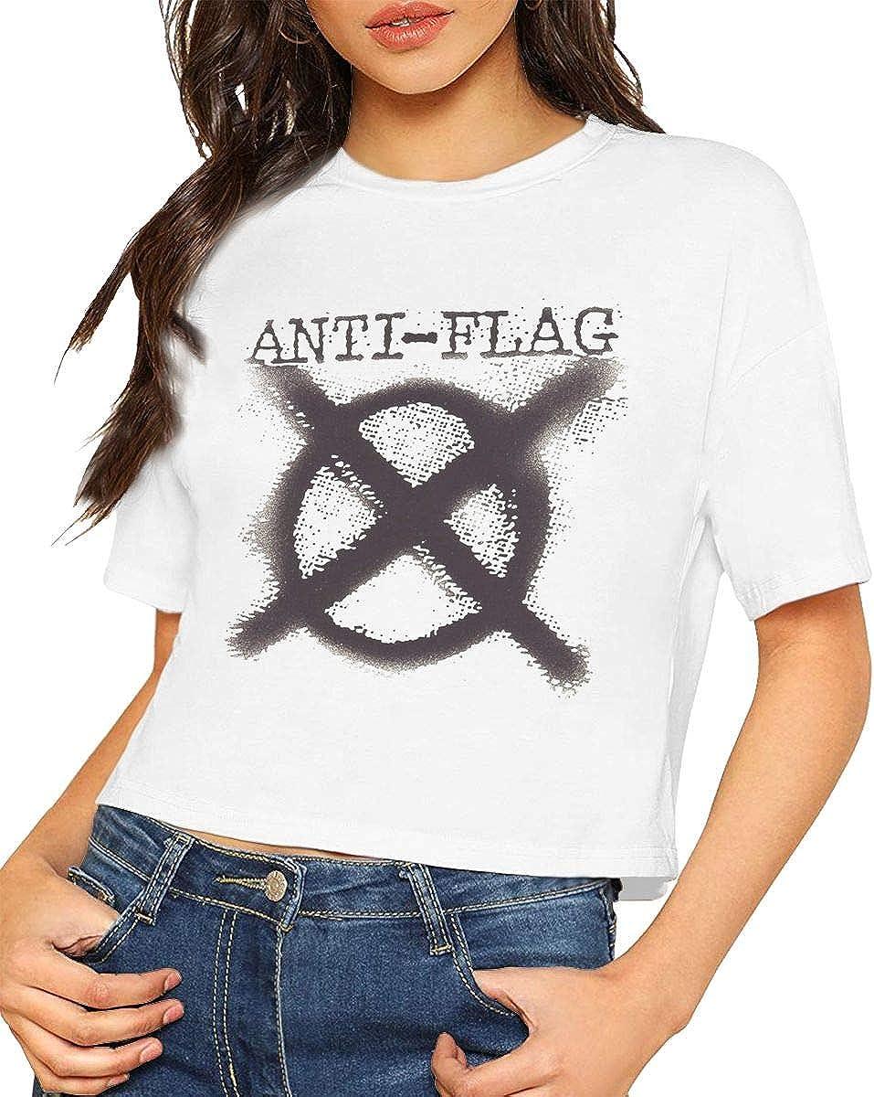 Chouven Womens Crop Tops Anti Flag Crew Neck Short Sleeve T Shirt