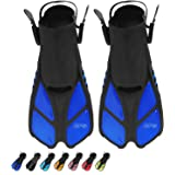 BPS Short-Blade Adjustable Swim Fins/Flippers and Full Gear Snorkel Set for Swimming, Diving, and Snorkeling