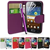 Fi9 Faux Leather Wallet Style Case for Samsung Phone with Screen Protector and Stylus - violet Galaxy Ace GT-S5830 S5830i S5839i