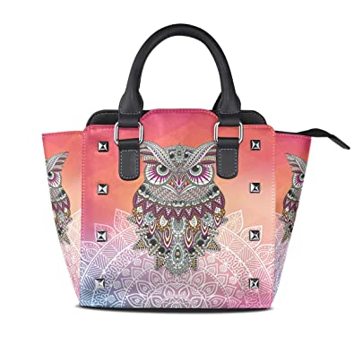 ead93a697280 Colorful Light Owl Women Leather Studded Bags ... - Amazon.com