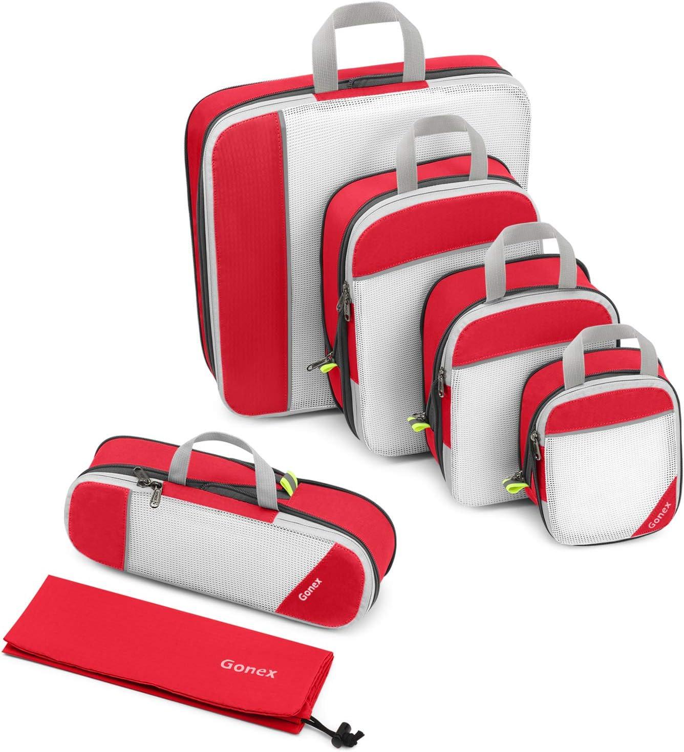 Gonex Organizador para Maletas Viaje Equipaje 6 en 1 Set, Bolsas de Embalaje Almacenaje para Organizar Ropa Zapatos Cosméticos Cubos Ultraligeros Resistentes Multiusos Rip-Stop de Nylon, Rojo