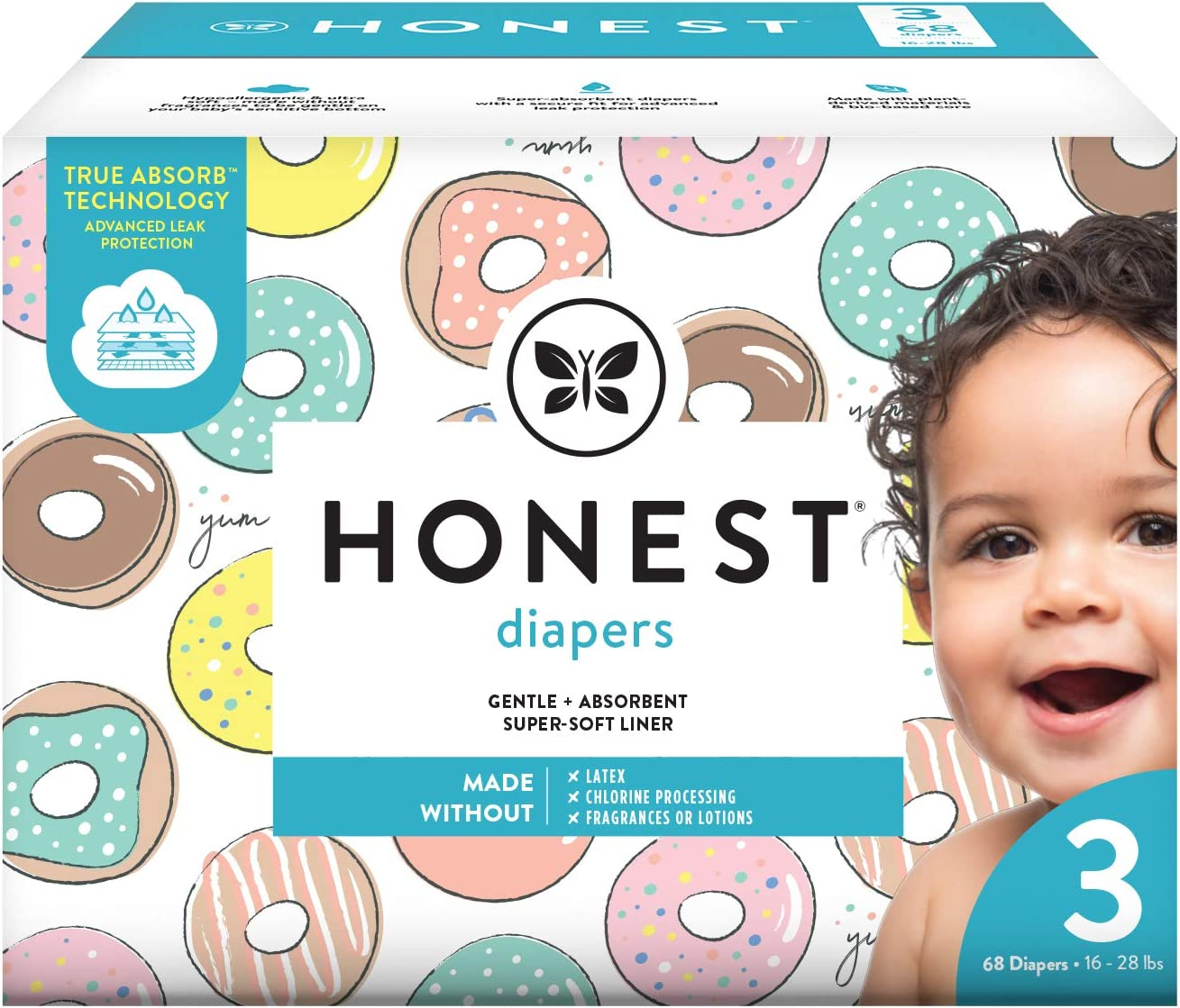 The Honest Company The Honest Company Baby Diapers with True Absorb Technology, Donut Grow Up, Size 3, 68 Count, 68 Count