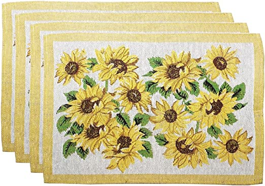 """Set 4 Tapestry yellow SUNFLOWERS flowers floral kitchen table Placemats 13/""""x19/"""""""
