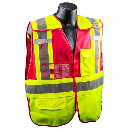 32b609a56a44 Full Source PSV-FIRE ANSI 207 Public Fire Safety Vest - Lime   Red -  3XL 4XL - - Amazon.com