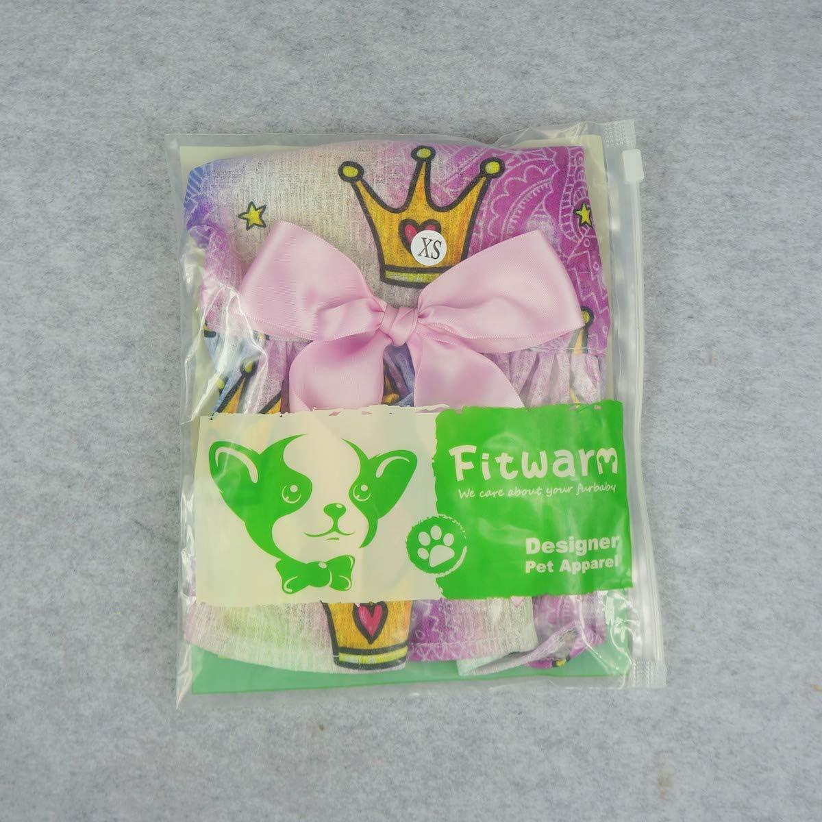 Fitwarm Pet Clothes Dog Dresses Cat Vest Sundresses Princess Crown Purple