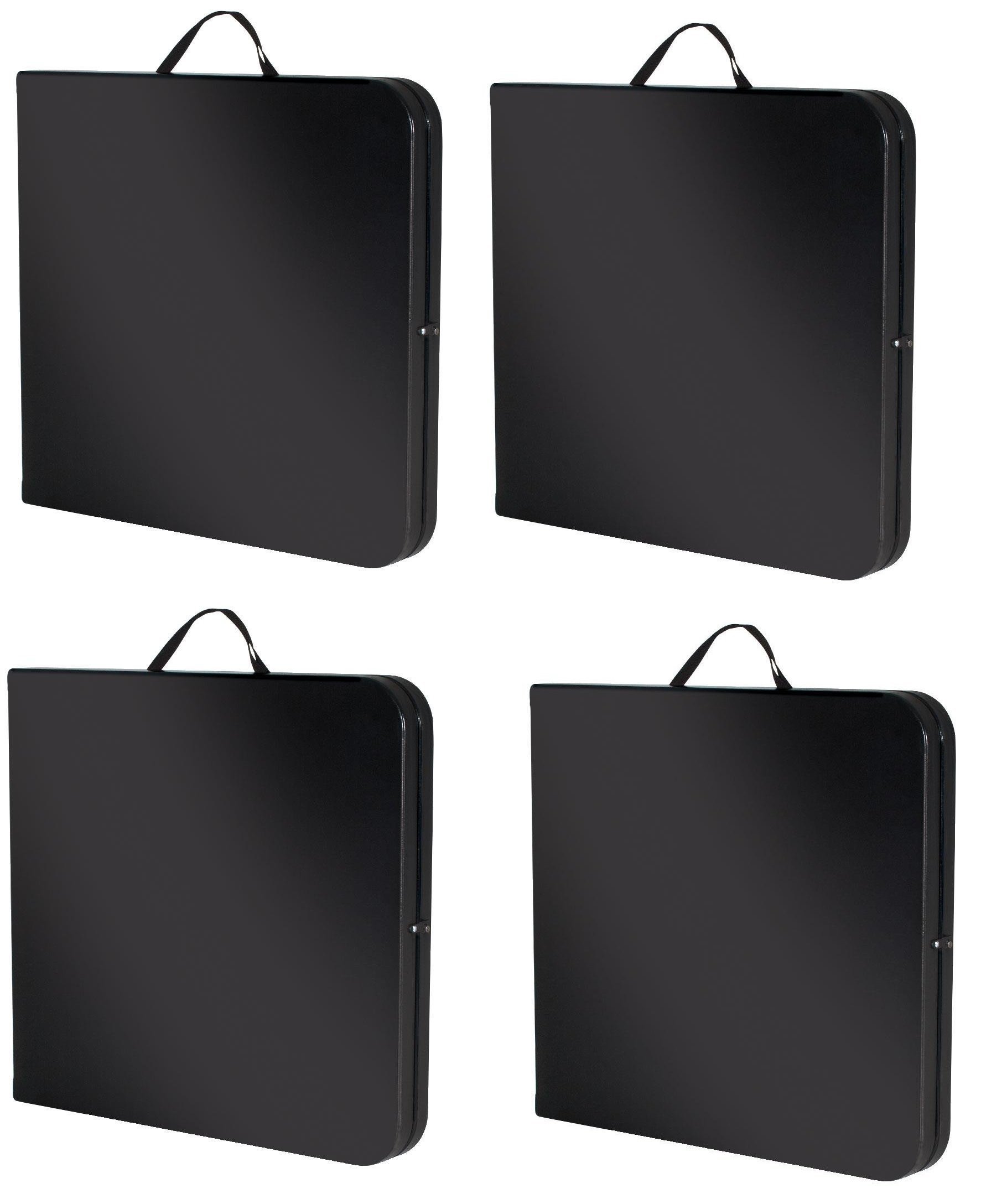 Cosco Deluxe 6 foot x 30 inch Fold-in-Half Blow Molded Folding Table YeiNsw, Black, (4 Pack)