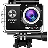 ORSKEY Action Camera 1080P Wifi Underwater Cam Full HD 12MP Sports Camera Waterproof 30m 170 Wide-Angle Lens with 2 Rechargeable Batteries and Mounting Accessory Kits