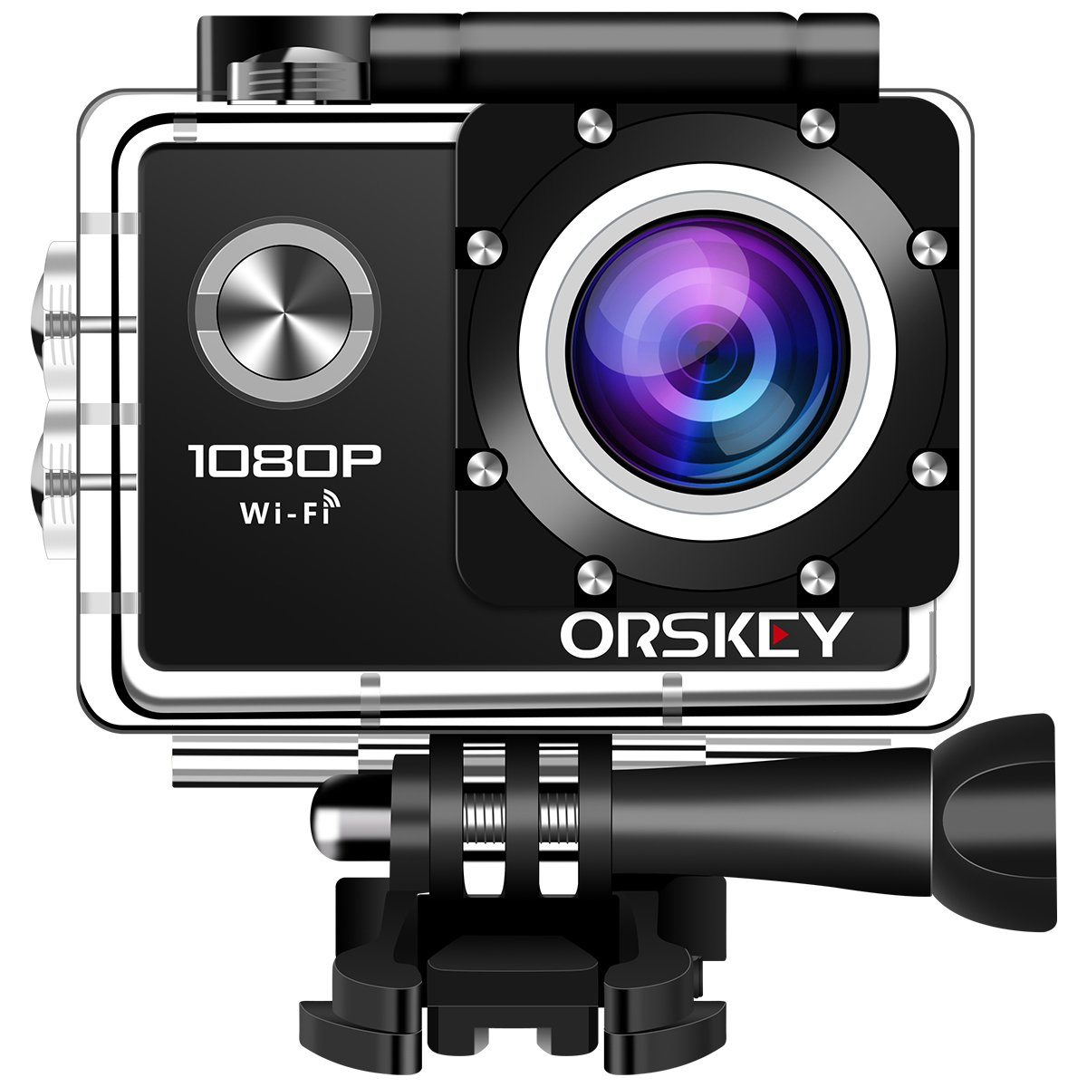 ORSKEY Action Camera 1080P Wifi Underwater Cam Full HD 12MP Sports Camera Waterproof 30m 170 Wide-Angle Lens with 2 Rechargeable Batteries and Mounting Accessory Kits by ORSKEY